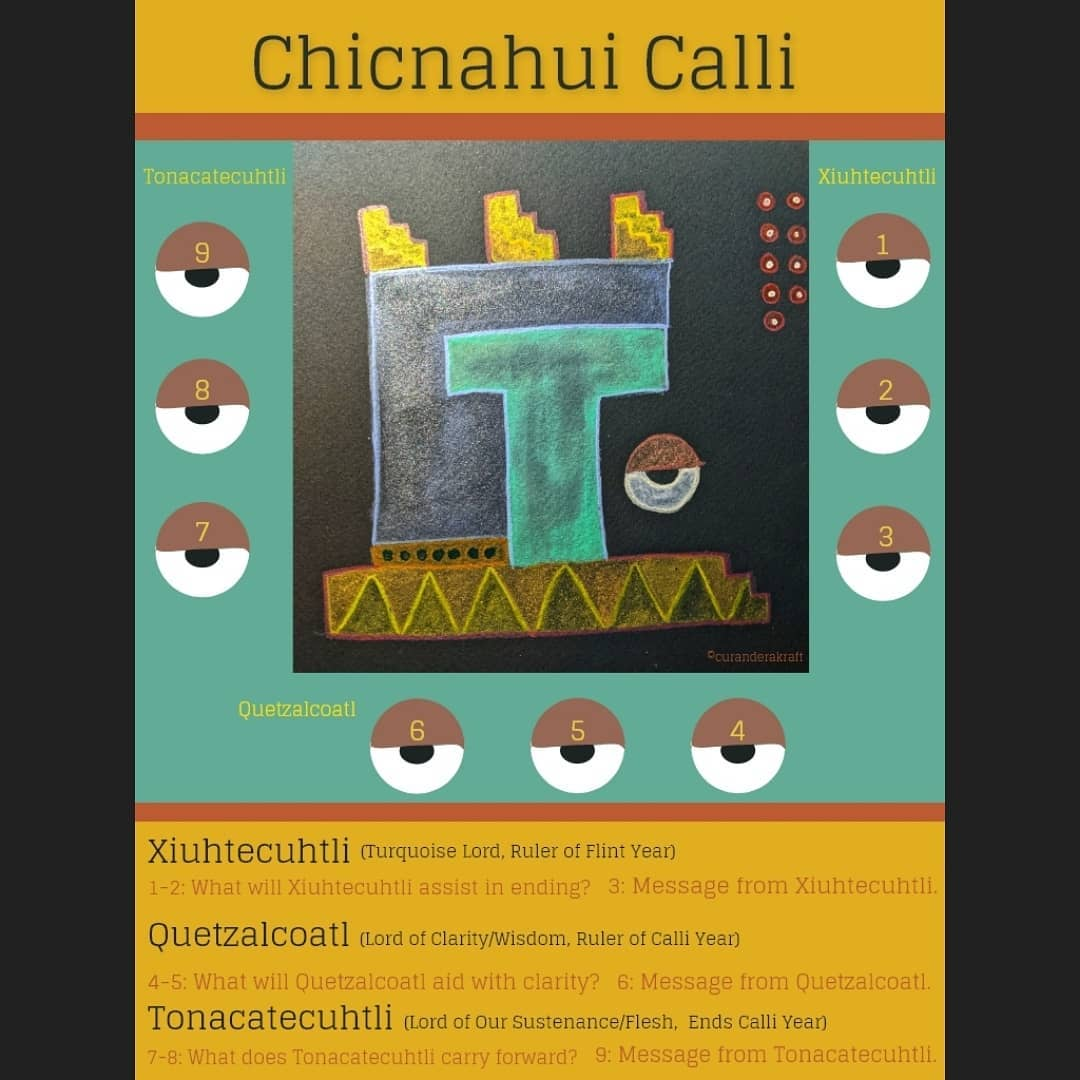 Tarot spread: Chicnahui Calli Xihuitl~~~Xiuhtecuhtli (Turquoise Lord, Ruler of Flint Year)1-2: What will Xiuhtecuhtli assist with ending? 3: Message from Xiuhtecuhtli.Quetzalcoatl (Lord of Clarity/Wisdom, Ruler of Calli Year)4-5: What will Quetzalcoatl aid with clarity? 6: Message from Quetzalcoatl.Tonacatecuhtli (Lord of Sustenance/Flesh, Ends Calli Year)7-8: What will Tonacatecuhtli carry forward? 9: Message from Tonacatecuhtli.~~~Deck: The Toltec OracleDeck: The Jade OracleDeck: The Nahualli Animal Oracle#toltecoraclecards #thejadeoracledeck #oraclecommunityofinstagram #oraclespread #thejadeoracle #nahuallianimaloracle #tonalpohualli #calli #chicnahuicalli #xihuitl #xiuhtecuhtli #tarotspread #quetzalcoatl #tarotreadersofinstagram #tonacatecuhtli #flintyear #houseyear